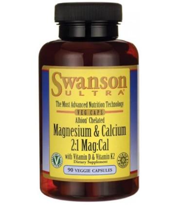 Swanson Albion Chelated Magnesium & Calcium Wapń i Magnez 90 vkaps.