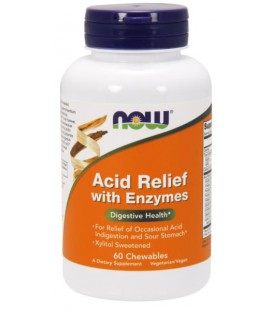 NOW FOODS ACID RELIEF CHEW ENZYMES 60 LOZ