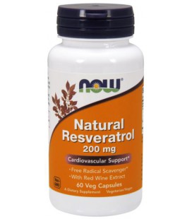 NOW FOODS NATURAL RESVERATROL 200mg 60 VCAPS