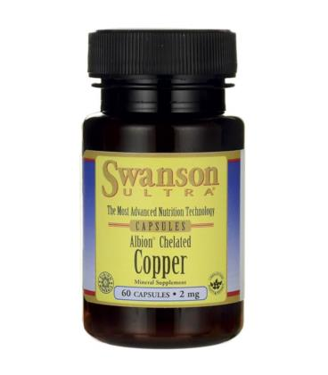 Swanson Albion Chelated Copper Chelat Miedzi 2mg 60 kapsułek