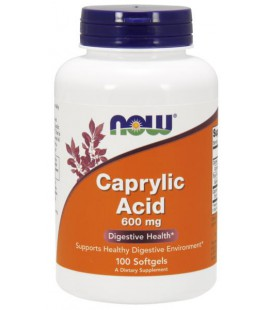NOW FOODS CAPRYLIC ACID 600MG 100 SGELS