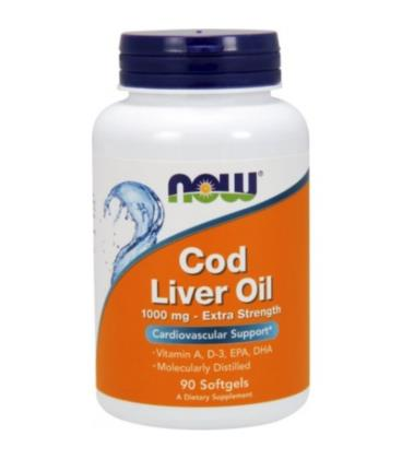 NOW FOODS Cod Liver Oil 1000mg 90 kaps.