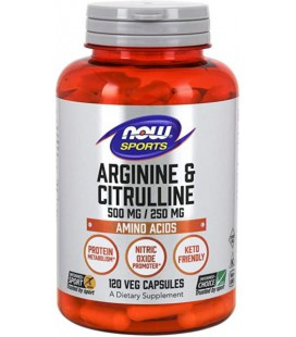 NOW FOODS ARGININE 500MG CITRULLINE 250MG 120VCAPS
