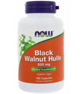 NOW FOODS BLACK WALNUT HULLS CZARNY ORZECH 500MG 100CAPS