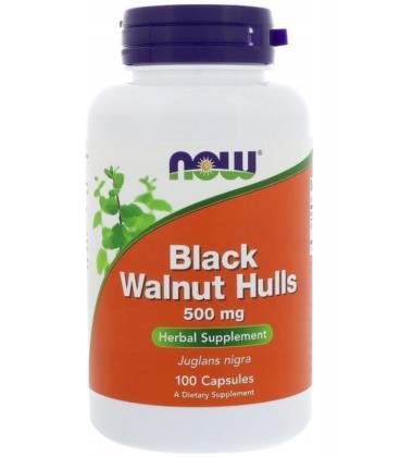 NOW FOODS BLACK WALNUT HULLS CZARNY ORZECH 500MG 100CAPS