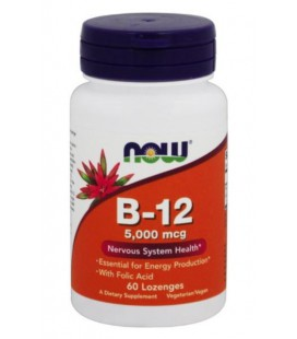 NOW FOODS VITAMIN B-12 5000mcg + FOLIC 60 LOZ