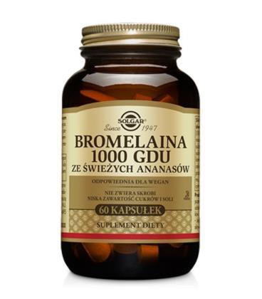 Solgar Bromelaina 1000GDU ze świeżych Ananasów w 2 kapsułkach 60Kaps