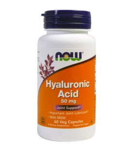 NOW FOODS HYALURONIC ACID 50MG + MSM 60VCAPS
