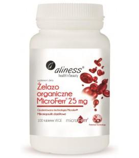 Aliness Żelazo Organiczne MICROFERR 25mg 100Vege Tabletek