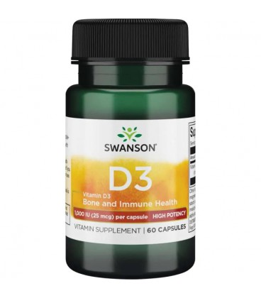 Swanson Vitamin D-3 1000IU High Potency Dry 60caps
