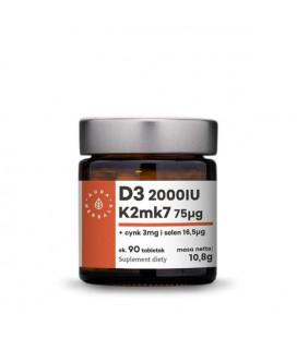 Aura Herbals Witamina D3 (2000IU) + K2mk7 + Cynk + Selen 90 tabletek