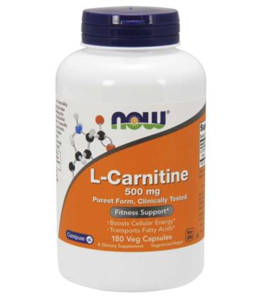NOW FOODS L-CARNITINE L-karnityna 500MG 180 VCAPS