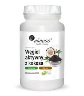 Aliness Węgiel Aktywny z Kokosa 300mg 100 VEGE Kap