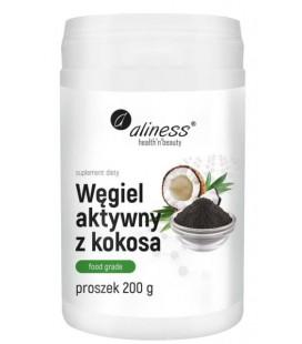 Aliness Węgiel Aktywny z Kokosa w proszku 200g