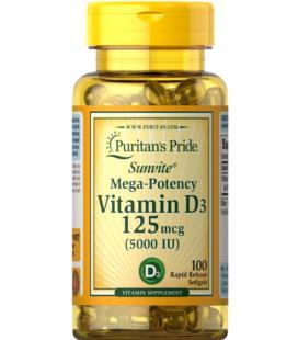 Puritans Pride Vitamin D3 5000 IU 100 Softgels
