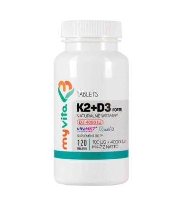 MyVita Witamina K2 MK-7 100mcg + D3 4000IU Forte 120 Tabletek