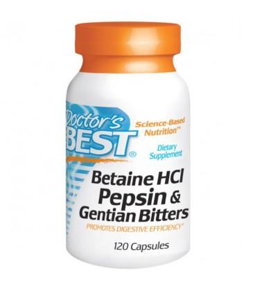 Doctor's Best Betaine Hcl Pepsin & Gentian Bitters - 120kaps