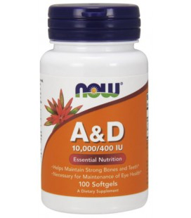 NOW FOODS VITAMIN A & D 10000/400 100 SGELS