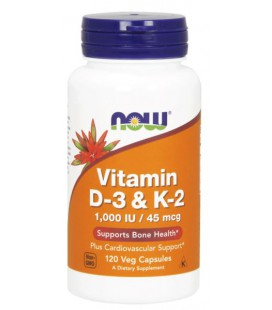 NOW FOODS Vit D-3 / K2 1000 IU/45 MCG 120 VCAPS