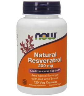 NOW FOODS NATURAL RESVERATROL 200mg 120 VCAPS
