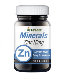 Lifeplan Zinc Citrate 15mg 90tab